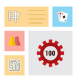 icon flat play set of maze chip multiplayer and vector image vector image