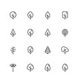 icon set trees in outline style vector image vector image