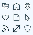 interface outline icons set collection of resize vector image vector image