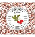 Jam label design template for Rose hip dessert vector image
