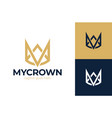 letter m crown logo king royal icon queen vector image vector image