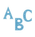 letters a b c decorated with snowflakes isolated vector image vector image