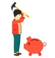 Man breaking piggy bank vector image vector image