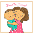 Mothers Day greeting card with mother and child vector image vector image