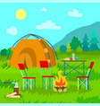 mountains view tent in coniferous forest vector image
