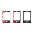 moving pixelated halftone smartphone icon vector image vector image