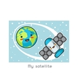 My satellite Kawaii space funny card Doodles vector image vector image