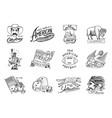 native american set old labels or badges vector image vector image