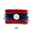 realistic watercolor painting flag of laos vector image vector image