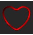 Red metal glow heart on dark background vector image vector image