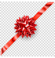 red shiny bow with diagonally ribbon vector image vector image