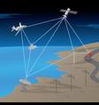satellite gps network communication scene vector image vector image