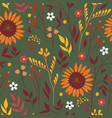 seamless pattern with autumn flowers and leaves vector image vector image