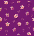 seamless romantic pattern with pig and gift box vector image vector image