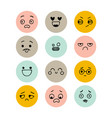set hand drawn funny smiley faces kawaii vector image vector image