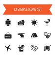 set of 12 editable journey icons includes symbols vector image