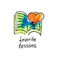 sketch watercolor icon of favorite lessons vector image vector image