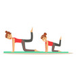 Smiling woman and girl doing fitness exercises on