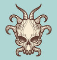 vintage monsters skull with horns vector image vector image