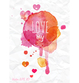Watercolor love Valentines Day card vector image