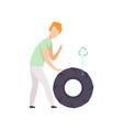 young man with used rubber tire people gathering vector image vector image
