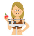 young woman standing on weighing scale vector image
