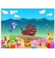 Underwater background with old ship vector image