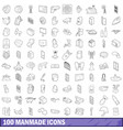 100 manmade icons set outline style vector image