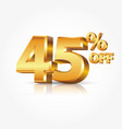 3d shiny gold 45 percent text with reflection