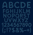 alphabet numbers of blue stars circles vector image vector image