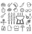 barbecue icon set line vector image vector image