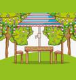 beautiful garden cartoon vector image