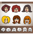 cartoon women heads set vector image vector image