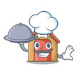 chef with food dog house isolated on mascot vector image vector image
