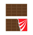 chocolate bar icon set opened red wrapping paper vector image vector image