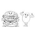 classic burger and egg black and white vector image vector image