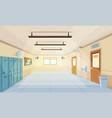 color cartoon high school hallway vector image