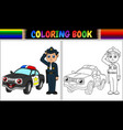 coloring book with policeman and police car vector image