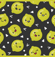 cute smiling lime fruits seamless pattern vector image vector image