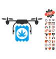 drone cannabis delivery icon with valentine bonus vector image vector image