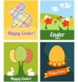 Easter cards with rabbits and eggs vector image vector image