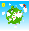 Ecology world tree sun cloud rainbow and sky vector image vector image