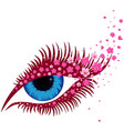female blue eye with small pink sakura flowers vector image