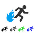 fired running man flat icon vector image vector image