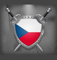 flag of czech republic the shield with national vector image