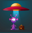 funny cute alien with big eye and ear vector image vector image