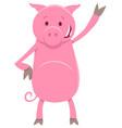 funny pig animal character cartoon vector image vector image