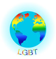 globe symbol with lgbt rainbow colored world map vector image vector image