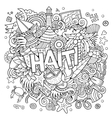 Haiti hand lettering and doodles elements vector image