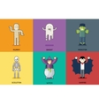 Halloween Party Roles Characters Icons Set Stylish vector image vector image